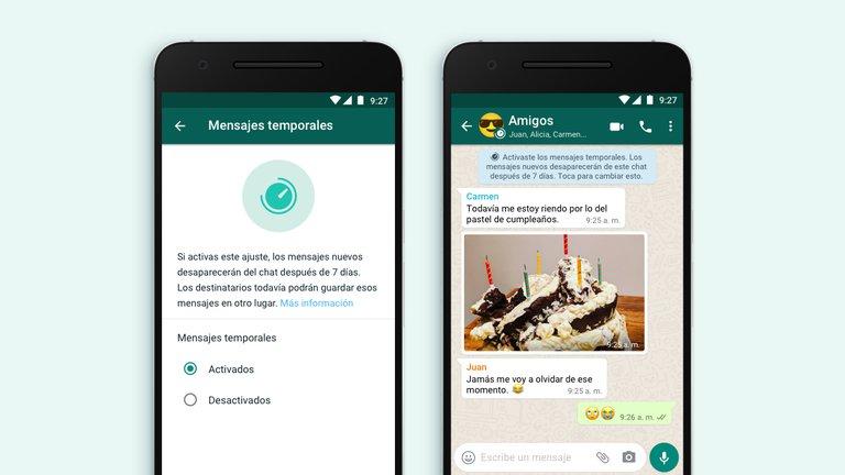 ¿Cómo enviar mensajes temporales en Whatsapp?